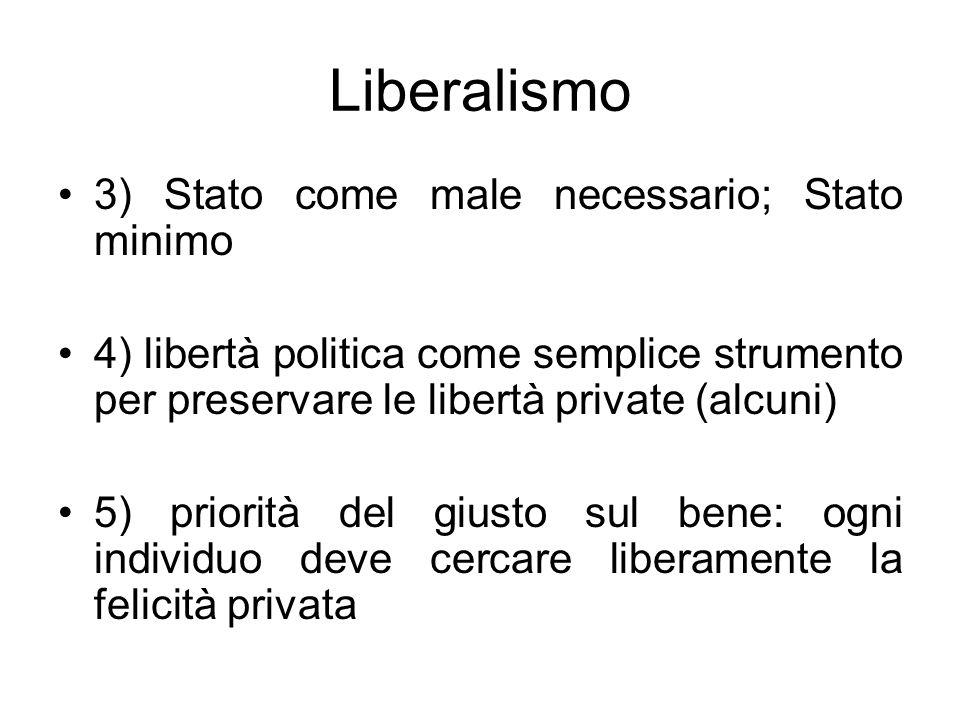 Liberalismo 3) Stato come male necessario; Stato minimo 4) libertà politica come semplice strumento per preservare le libertà private (alcuni) 5) prio
