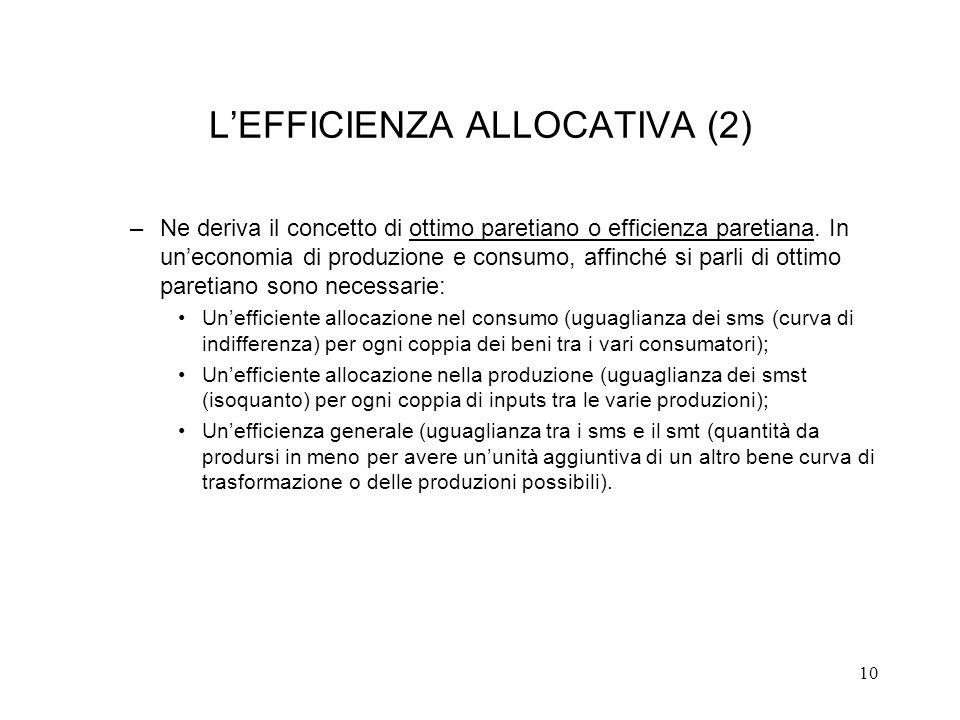 10 LEFFICIENZA ALLOCATIVA (2) –Ne deriva il concetto di ottimo paretiano o efficienza paretiana. In uneconomia di produzione e consumo, affinché si pa