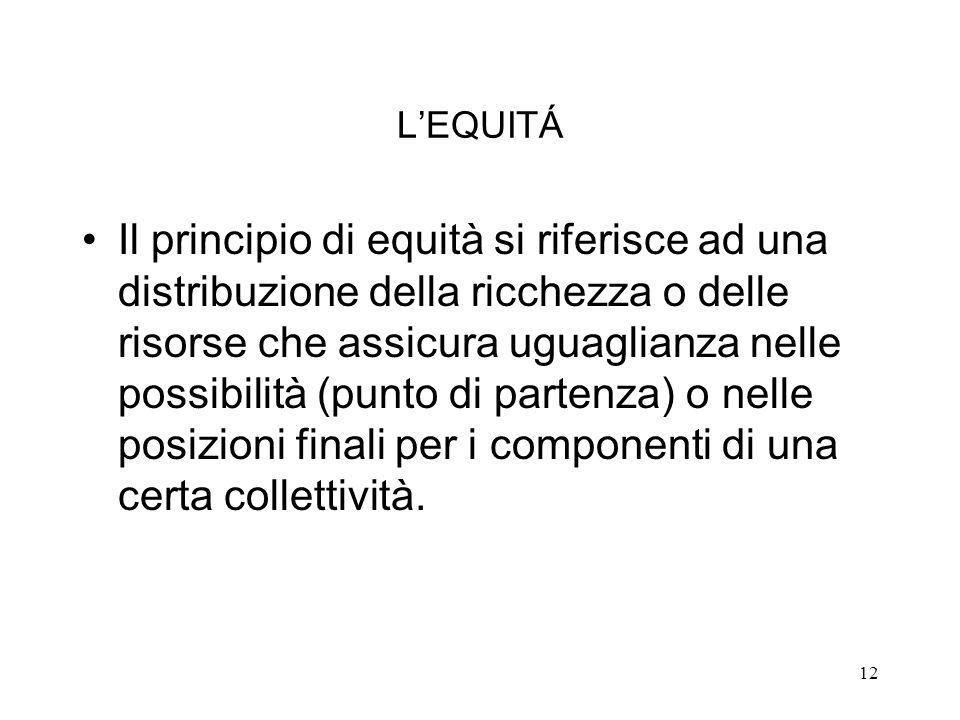 12 LEQUITÁ Il principio di equità si riferisce ad una distribuzione della ricchezza o delle risorse che assicura uguaglianza nelle possibilità (punto