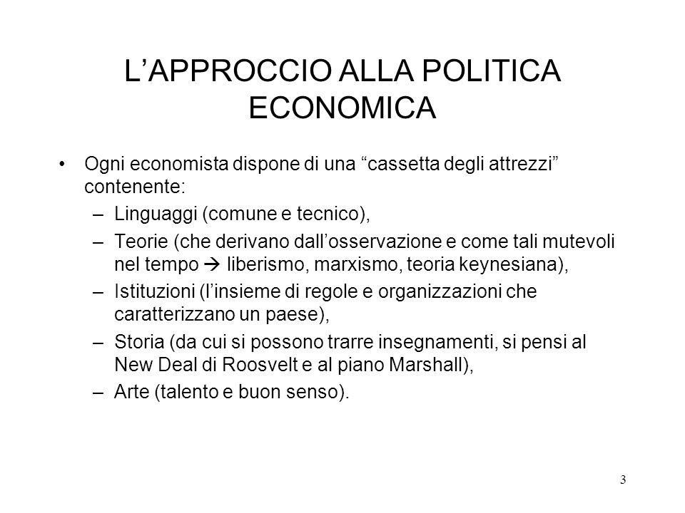 3 LAPPROCCIO ALLA POLITICA ECONOMICA Ogni economista dispone di una cassetta degli attrezzi contenente: –Linguaggi (comune e tecnico), –Teorie (che de