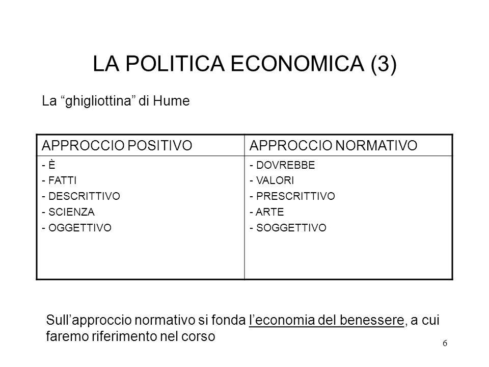 6 LA POLITICA ECONOMICA (3) APPROCCIO POSITIVOAPPROCCIO NORMATIVO - È - FATTI - DESCRITTIVO - SCIENZA - OGGETTIVO - DOVREBBE - VALORI - PRESCRITTIVO -
