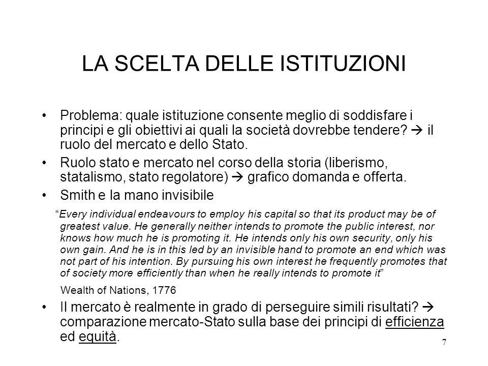 7 LA SCELTA DELLE ISTITUZIONI Problema: quale istituzione consente meglio di soddisfare i principi e gli obiettivi ai quali la società dovrebbe tender