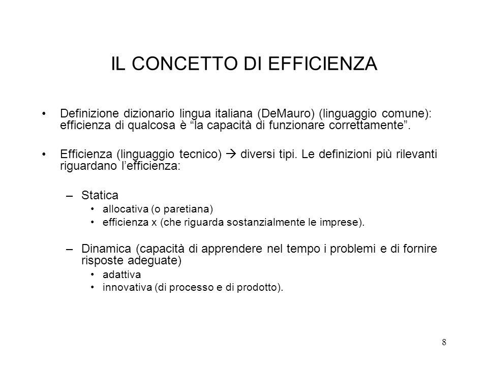 8 IL CONCETTO DI EFFICIENZA Definizione dizionario lingua italiana (DeMauro) (linguaggio comune): efficienza di qualcosa è la capacità di funzionare c