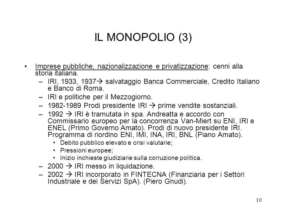 10 IL MONOPOLIO (3) Imprese pubbliche, nazionalizzazione e privatizzazione: cenni alla storia italiana. –IRI, 1933, 1937 salvataggio Banca Commerciale