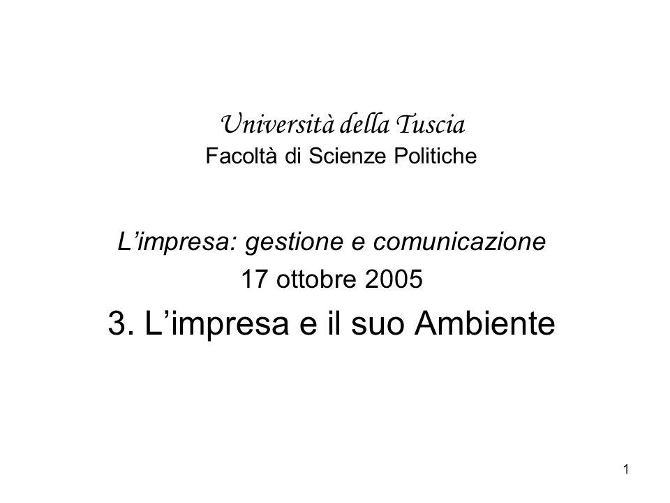 1 Università della Tuscia Facoltà di Scienze Politiche Limpresa: gestione e comunicazione 17 ottobre 2005 3.