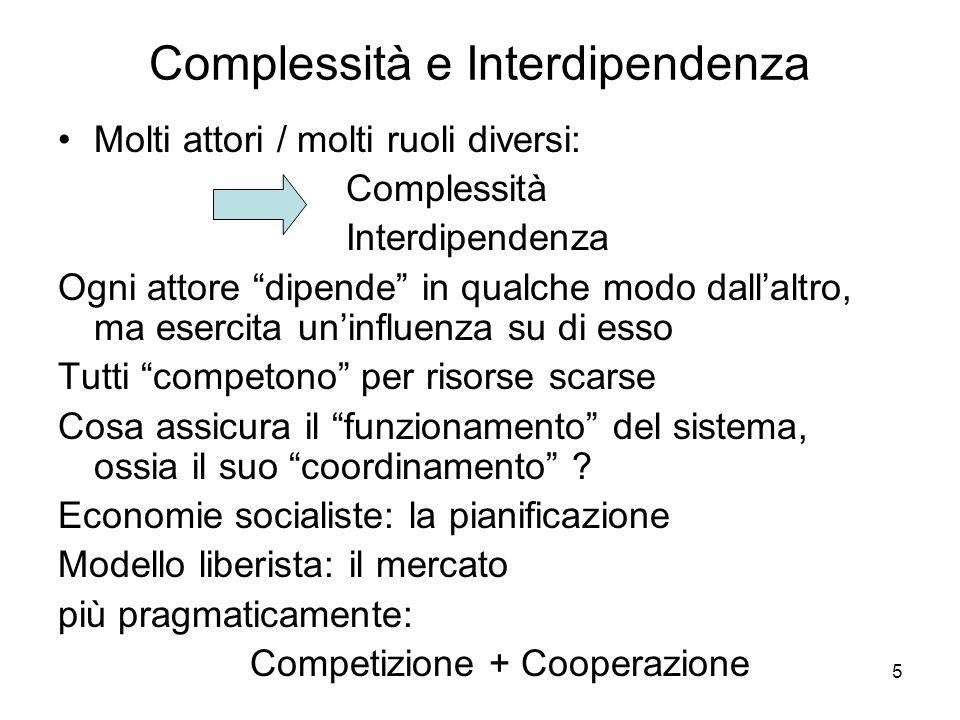 5 Complessità e Interdipendenza Molti attori / molti ruoli diversi: Complessità Interdipendenza Ogni attore dipende in qualche modo dallaltro, ma esercita uninfluenza su di esso Tutti competono per risorse scarse Cosa assicura il funzionamento del sistema, ossia il suo coordinamento .