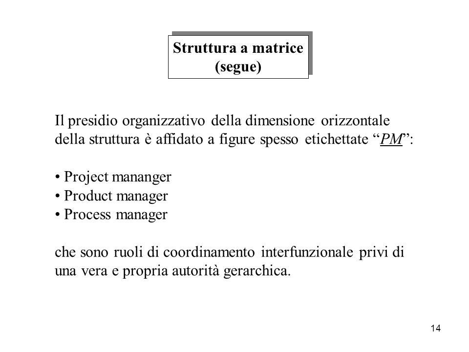 14 Struttura a matrice (segue) Struttura a matrice (segue) Il presidio organizzativo della dimensione orizzontale della struttura è affidato a figure