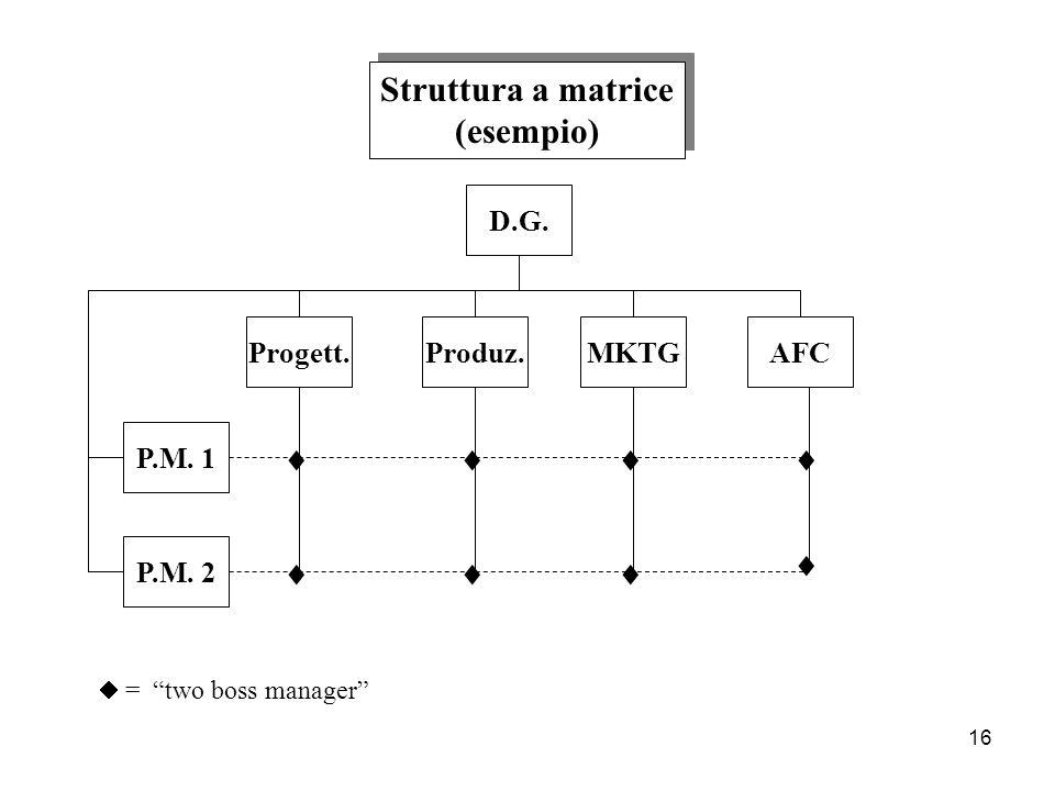 16 Struttura a matrice (esempio) Struttura a matrice (esempio) D.G. P.M. 1 Produz.MKTGAFCProgett. P.M. 2 = two boss manager