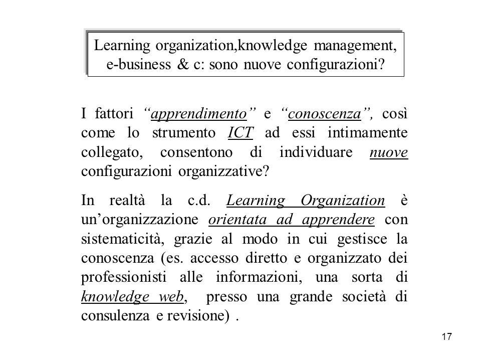 17 Learning organization,knowledge management, e-business & c: sono nuove configurazioni? I fattori apprendimento e conoscenza, così come lo strumento