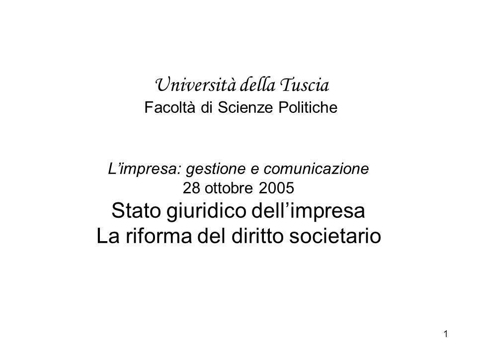 1 Università della Tuscia Facoltà di Scienze Politiche Limpresa: gestione e comunicazione 28 ottobre 2005 Stato giuridico dellimpresa La riforma del d