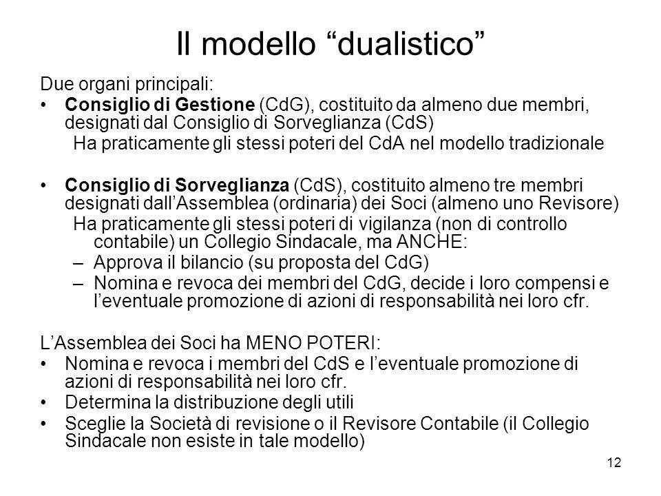 12 Il modello dualistico Due organi principali: Consiglio di Gestione (CdG), costituito da almeno due membri, designati dal Consiglio di Sorveglianza