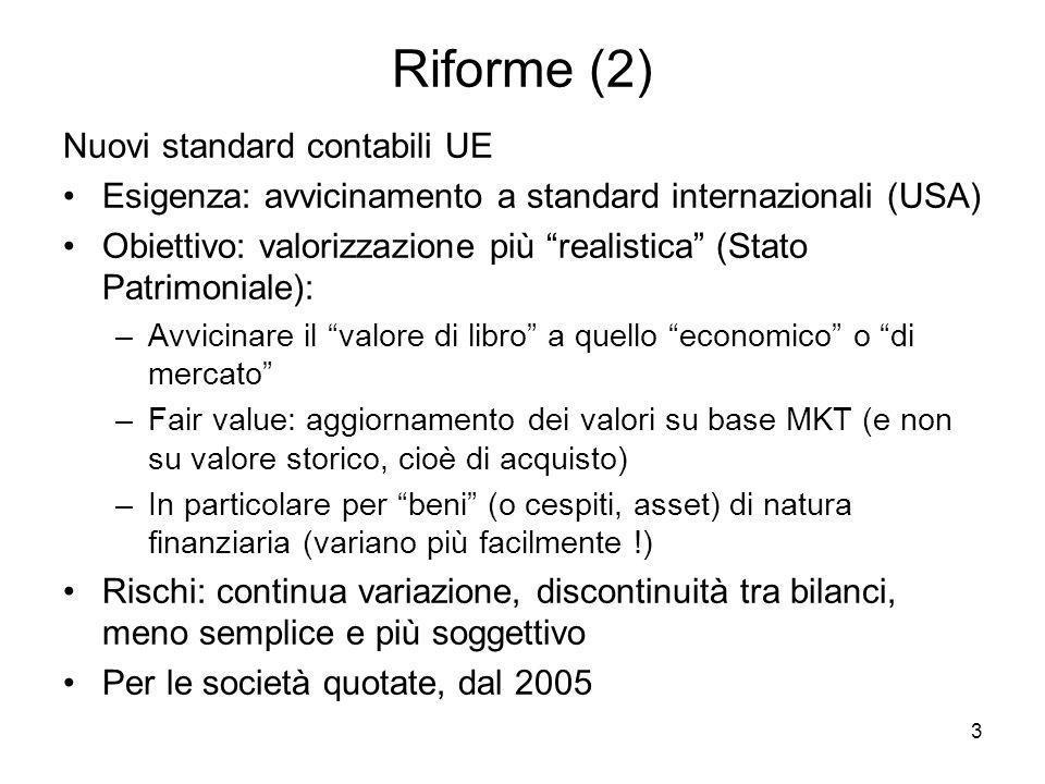 3 Riforme (2) Nuovi standard contabili UE Esigenza: avvicinamento a standard internazionali (USA) Obiettivo: valorizzazione più realistica (Stato Patr