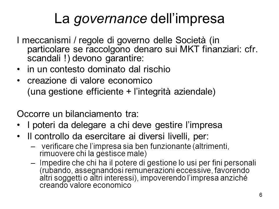 6 La governance dellimpresa I meccanismi / regole di governo delle Società (in particolare se raccolgono denaro sui MKT finanziari: cfr. scandali !) d