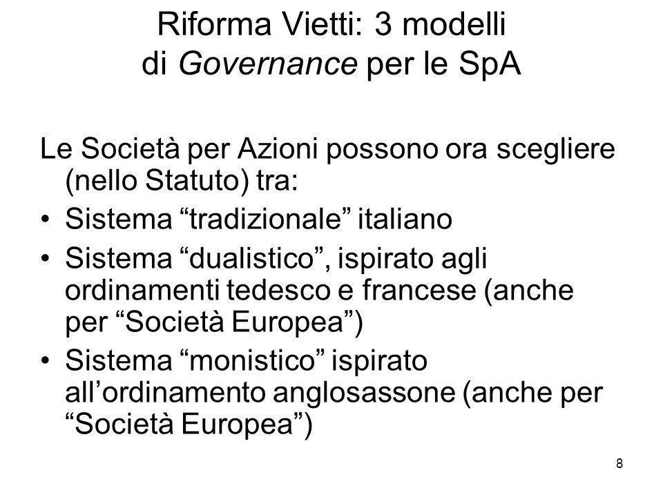 8 Riforma Vietti: 3 modelli di Governance per le SpA Le Società per Azioni possono ora scegliere (nello Statuto) tra: Sistema tradizionale italiano Si