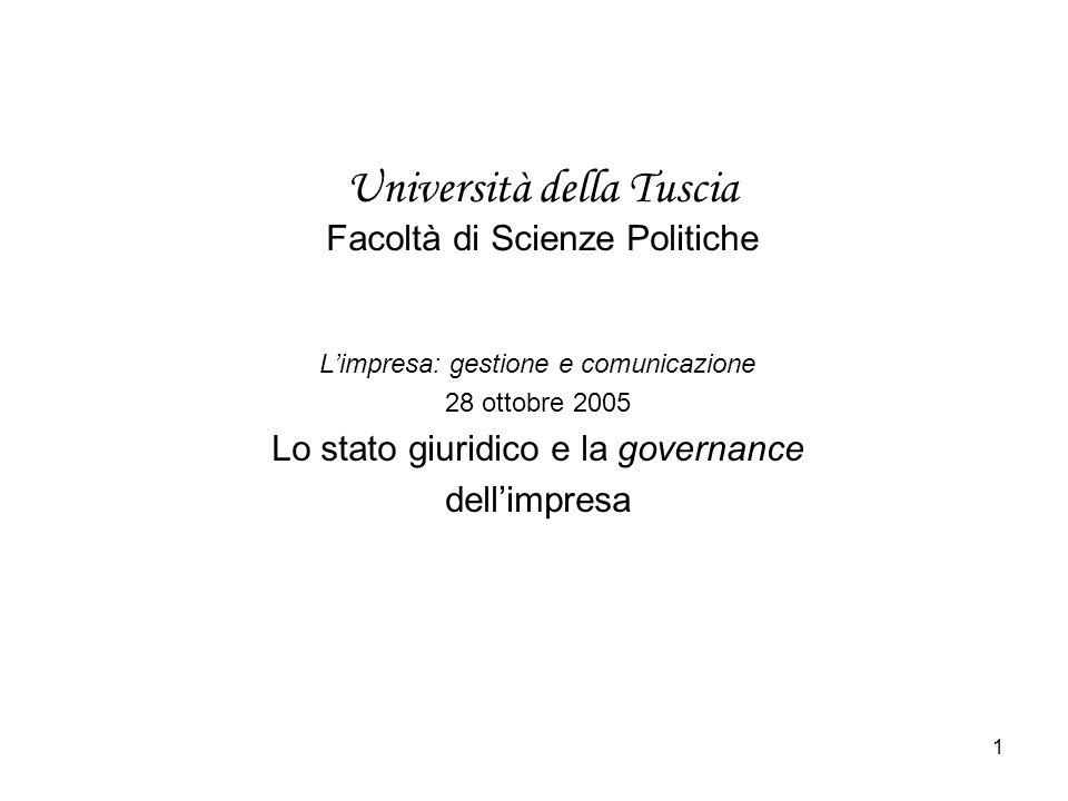 1 Università della Tuscia Facoltà di Scienze Politiche Limpresa: gestione e comunicazione 28 ottobre 2005 Lo stato giuridico e la governance dellimpresa