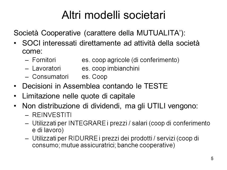 5 Altri modelli societari Società Cooperative (carattere della MUTUALITA): SOCI interessati direttamente ad attività della società come: –Fornitori es.