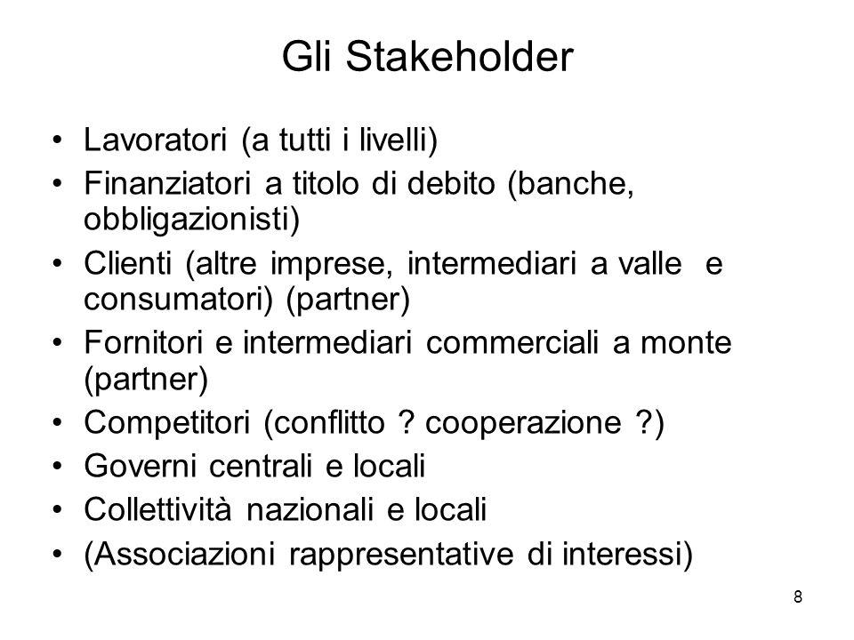 8 Gli Stakeholder Lavoratori (a tutti i livelli) Finanziatori a titolo di debito (banche, obbligazionisti) Clienti (altre imprese, intermediari a valle e consumatori) (partner) Fornitori e intermediari commerciali a monte (partner) Competitori (conflitto .