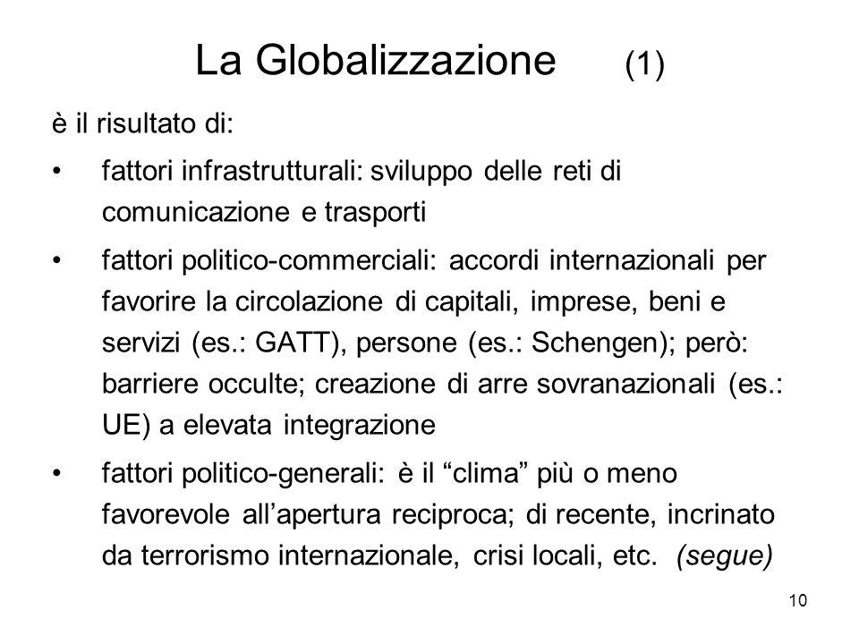 10 La Globalizzazione (1) è il risultato di: fattori infrastrutturali: sviluppo delle reti di comunicazione e trasporti fattori politico-commerciali: accordi internazionali per favorire la circolazione di capitali, imprese, beni e servizi (es.: GATT), persone (es.: Schengen); però: barriere occulte; creazione di arre sovranazionali (es.: UE) a elevata integrazione fattori politico-generali: è il clima più o meno favorevole allapertura reciproca; di recente, incrinato da terrorismo internazionale, crisi locali, etc.