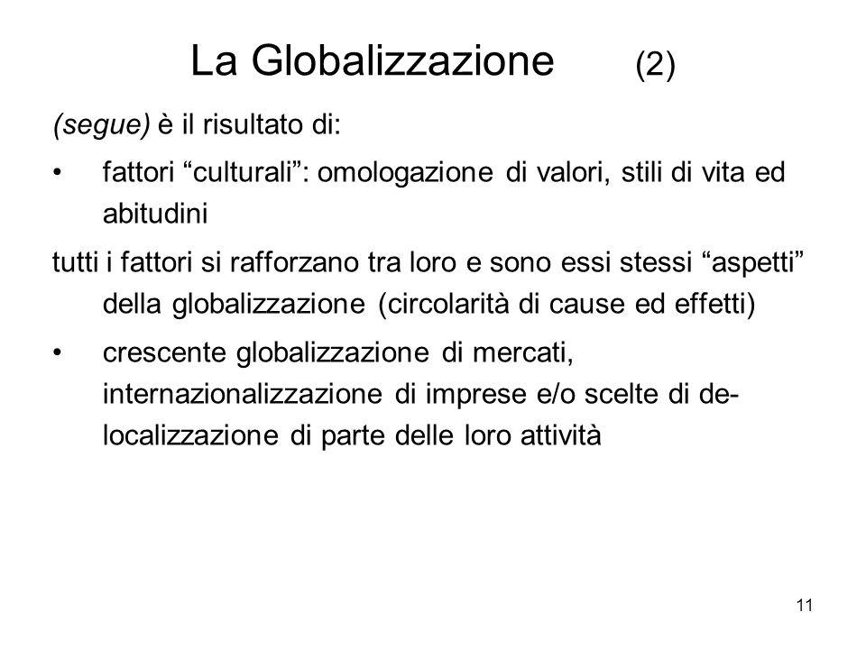 11 La Globalizzazione (2) (segue) è il risultato di: fattori culturali: omologazione di valori, stili di vita ed abitudini tutti i fattori si rafforzano tra loro e sono essi stessi aspetti della globalizzazione (circolarità di cause ed effetti) crescente globalizzazione di mercati, internazionalizzazione di imprese e/o scelte di de- localizzazione di parte delle loro attività