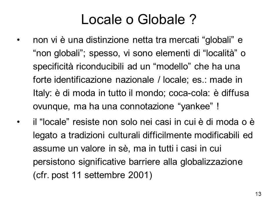 13 Locale o Globale ? non vi è una distinzione netta tra mercati globali e non globali; spesso, vi sono elementi di località o specificità riconducibi