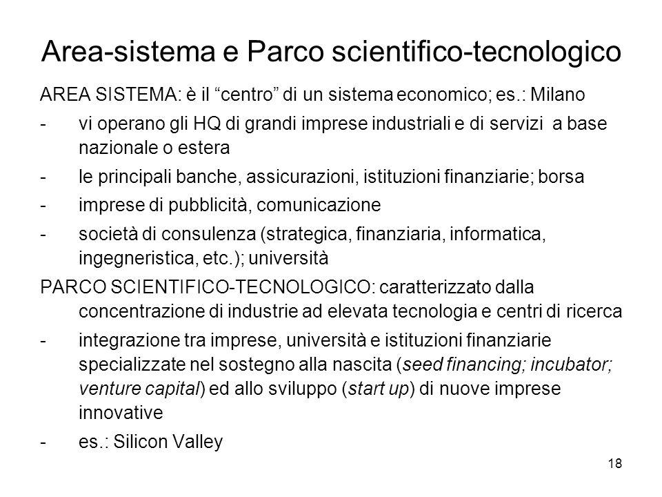 18 Area-sistema e Parco scientifico-tecnologico AREA SISTEMA: è il centro di un sistema economico; es.: Milano -vi operano gli HQ di grandi imprese industriali e di servizi a base nazionale o estera -le principali banche, assicurazioni, istituzioni finanziarie; borsa -imprese di pubblicità, comunicazione -società di consulenza (strategica, finanziaria, informatica, ingegneristica, etc.); università PARCO SCIENTIFICO-TECNOLOGICO: caratterizzato dalla concentrazione di industrie ad elevata tecnologia e centri di ricerca -integrazione tra imprese, università e istituzioni finanziarie specializzate nel sostegno alla nascita (seed financing; incubator; venture capital) ed allo sviluppo (start up) di nuove imprese innovative -es.: Silicon Valley