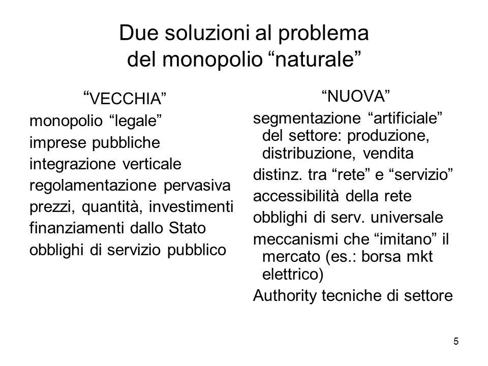 5 Due soluzioni al problema del monopolio naturale NUOVA segmentazione artificiale del settore: produzione, distribuzione, vendita distinz. tra rete e