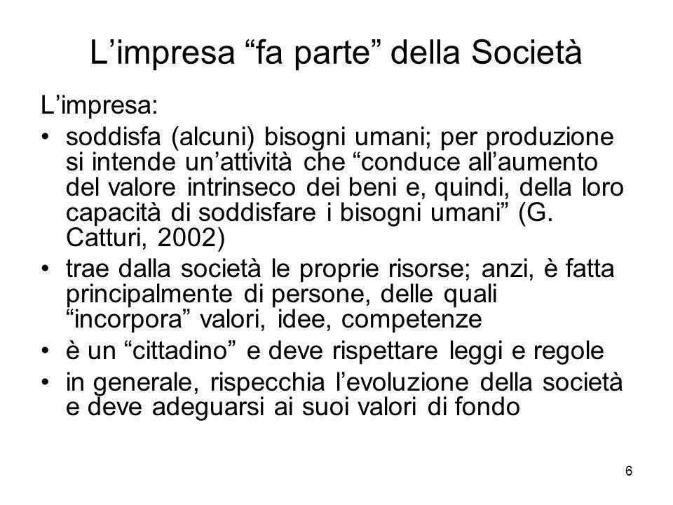 6 Limpresa fa parte della Società Limpresa: soddisfa (alcuni) bisogni umani; per produzione si intende unattività che conduce allaumento del valore in