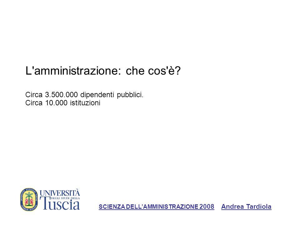 L'amministrazione: che cos'è? Circa 3.500.000 dipendenti pubblici. Circa 10.000 istituzioni SCIENZA DELLAMMINISTRAZIONE 2008 Andrea Tardiola