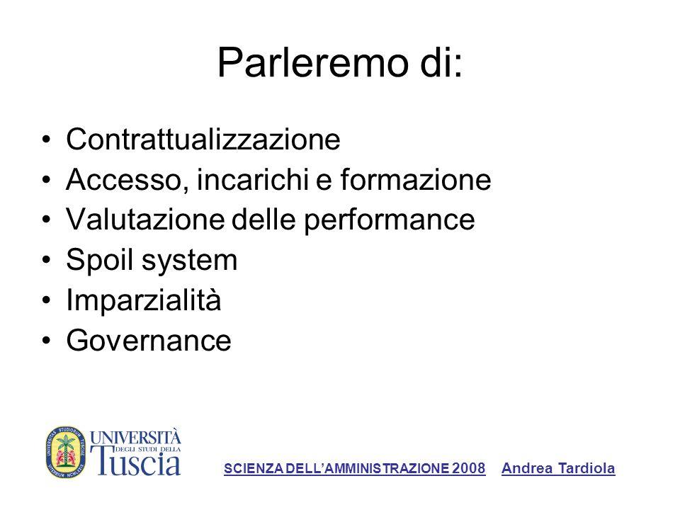 Parleremo di: Contrattualizzazione Accesso, incarichi e formazione Valutazione delle performance Spoil system Imparzialità Governance SCIENZA DELLAMMINISTRAZIONE 2008 Andrea Tardiola