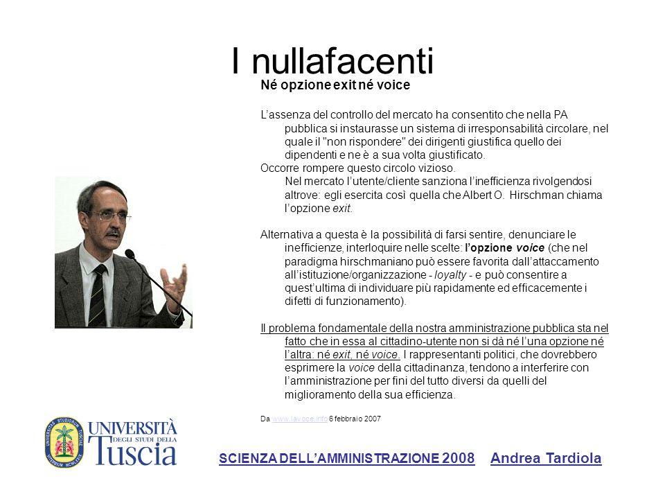 I nullafacenti Né opzione exit né voice Lassenza del controllo del mercato ha consentito che nella PA pubblica si instaurasse un sistema di irresponsa
