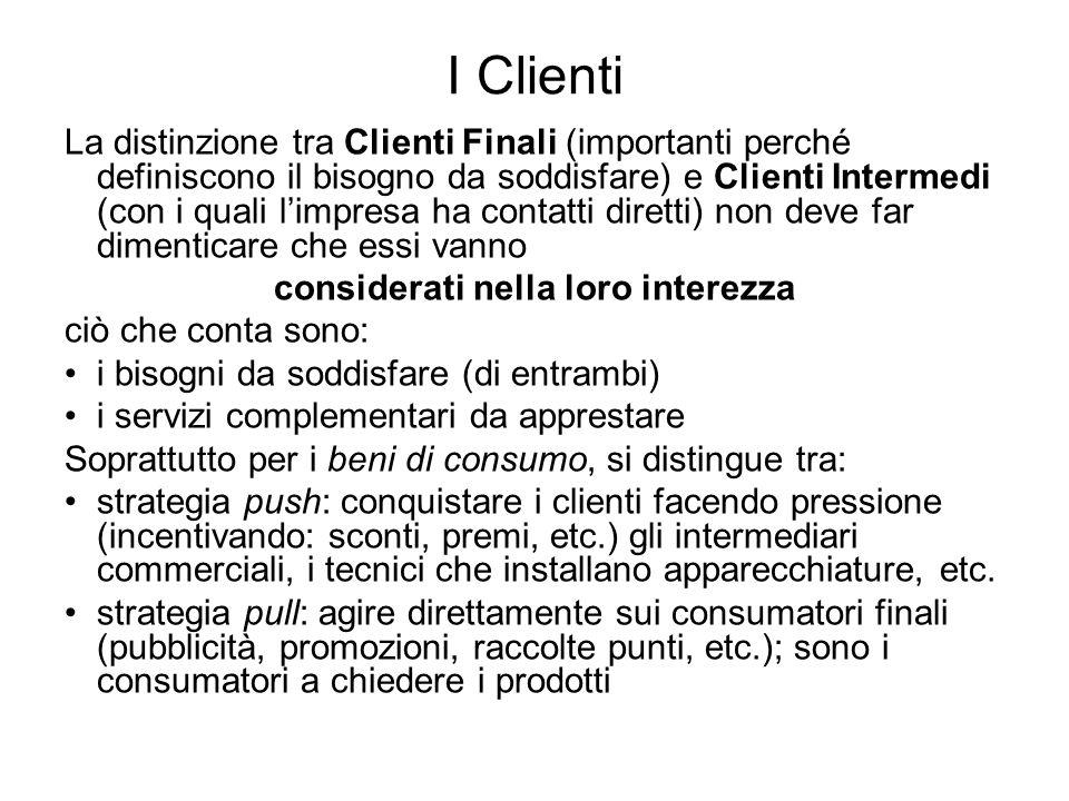 I Clienti La distinzione tra Clienti Finali (importanti perché definiscono il bisogno da soddisfare) e Clienti Intermedi (con i quali limpresa ha cont