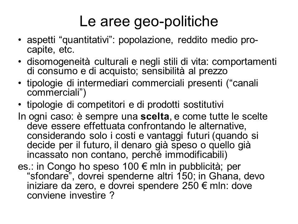 Le aree geo-politiche aspetti quantitativi: popolazione, reddito medio pro- capite, etc. disomogeneità culturali e negli stili di vita: comportamenti