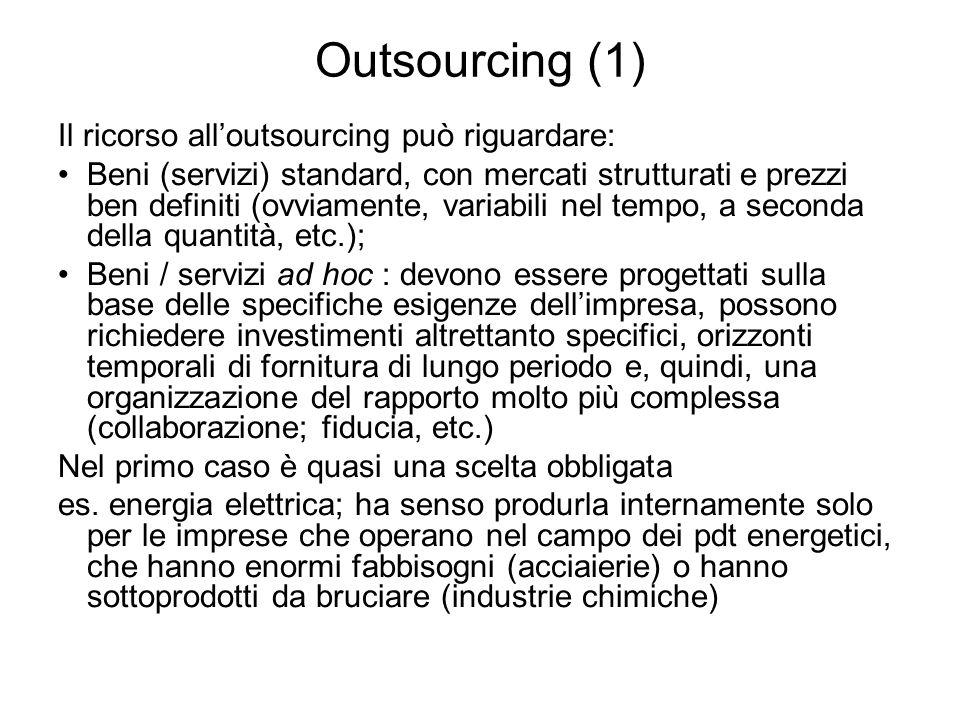 Outsourcing (1) Il ricorso alloutsourcing può riguardare: Beni (servizi) standard, con mercati strutturati e prezzi ben definiti (ovviamente, variabil