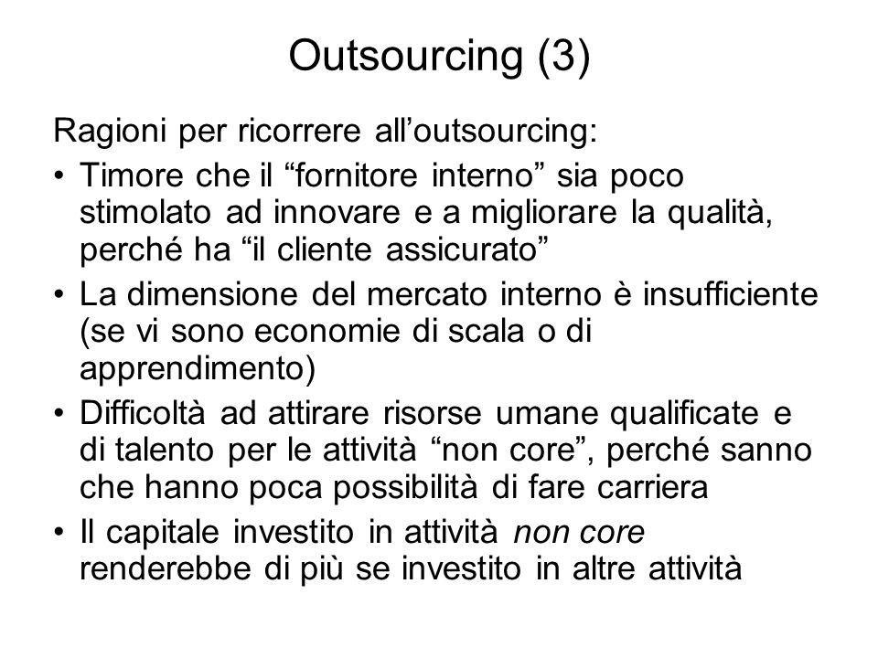 Outsourcing (3) Ragioni per ricorrere alloutsourcing: Timore che il fornitore interno sia poco stimolato ad innovare e a migliorare la qualità, perché