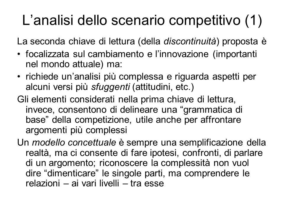 Lanalisi dello scenario competitivo (1) La seconda chiave di lettura (della discontinuità) proposta è focalizzata sul cambiamento e linnovazione (impo