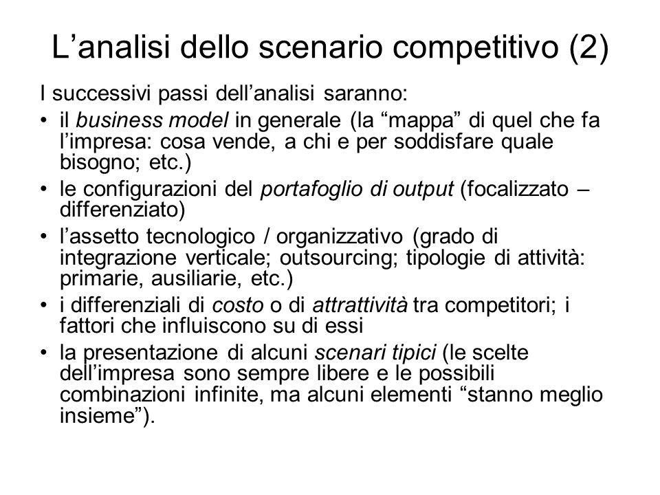 Lanalisi dello scenario competitivo (2) I successivi passi dellanalisi saranno: il business model in generale (la mappa di quel che fa limpresa: cosa
