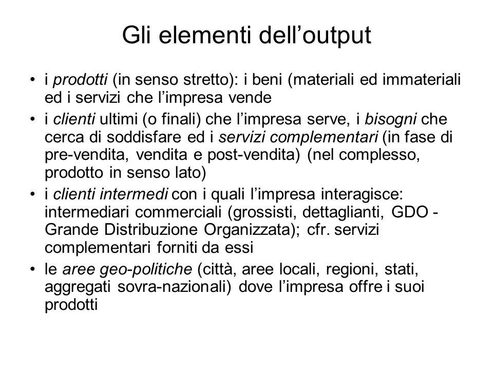 Gli elementi delloutput i prodotti (in senso stretto): i beni (materiali ed immateriali ed i servizi che limpresa vende i clienti ultimi (o finali) ch