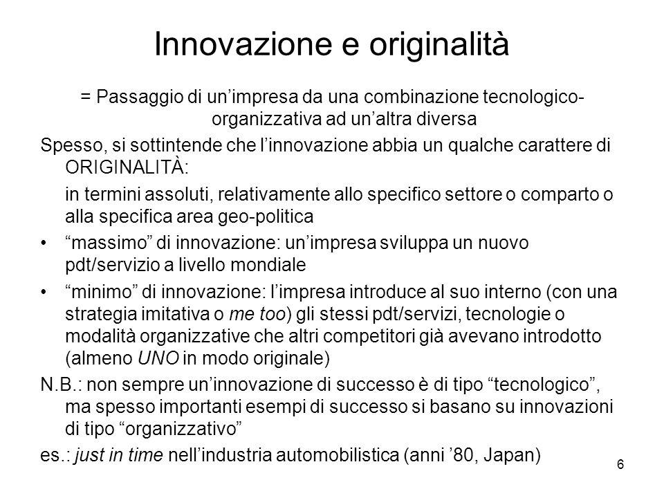 6 Innovazione e originalità = Passaggio di unimpresa da una combinazione tecnologico- organizzativa ad unaltra diversa Spesso, si sottintende che linnovazione abbia un qualche carattere di ORIGINALITÀ: in termini assoluti, relativamente allo specifico settore o comparto o alla specifica area geo-politica massimo di innovazione: unimpresa sviluppa un nuovo pdt/servizio a livello mondiale minimo di innovazione: limpresa introduce al suo interno (con una strategia imitativa o me too) gli stessi pdt/servizi, tecnologie o modalità organizzative che altri competitori già avevano introdotto (almeno UNO in modo originale) N.B.: non sempre uninnovazione di successo è di tipo tecnologico, ma spesso importanti esempi di successo si basano su innovazioni di tipo organizzativo es.: just in time nellindustria automobilistica (anni 80, Japan)
