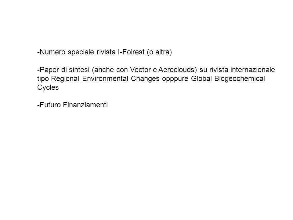 -Numero speciale rivista I-Foirest (o altra) -Paper di sintesi (anche con Vector e Aeroclouds) su rivista internazionale tipo Regional Environmental C
