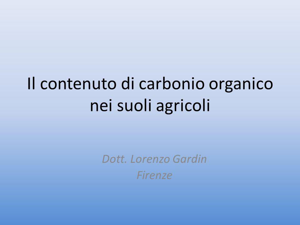 Il contenuto di carbonio organico nei suoli agricoli Dott. Lorenzo Gardin Firenze