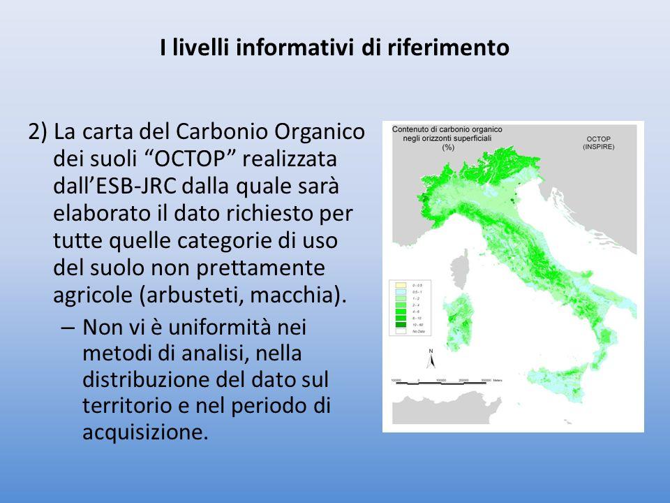 2) La carta del Carbonio Organico dei suoli OCTOP realizzata dallESB-JRC dalla quale sarà elaborato il dato richiesto per tutte quelle categorie di uso del suolo non prettamente agricole (arbusteti, macchia).