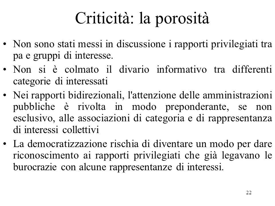 22 Criticità: la porosità Non sono stati messi in discussione i rapporti privilegiati tra pa e gruppi di interesse.