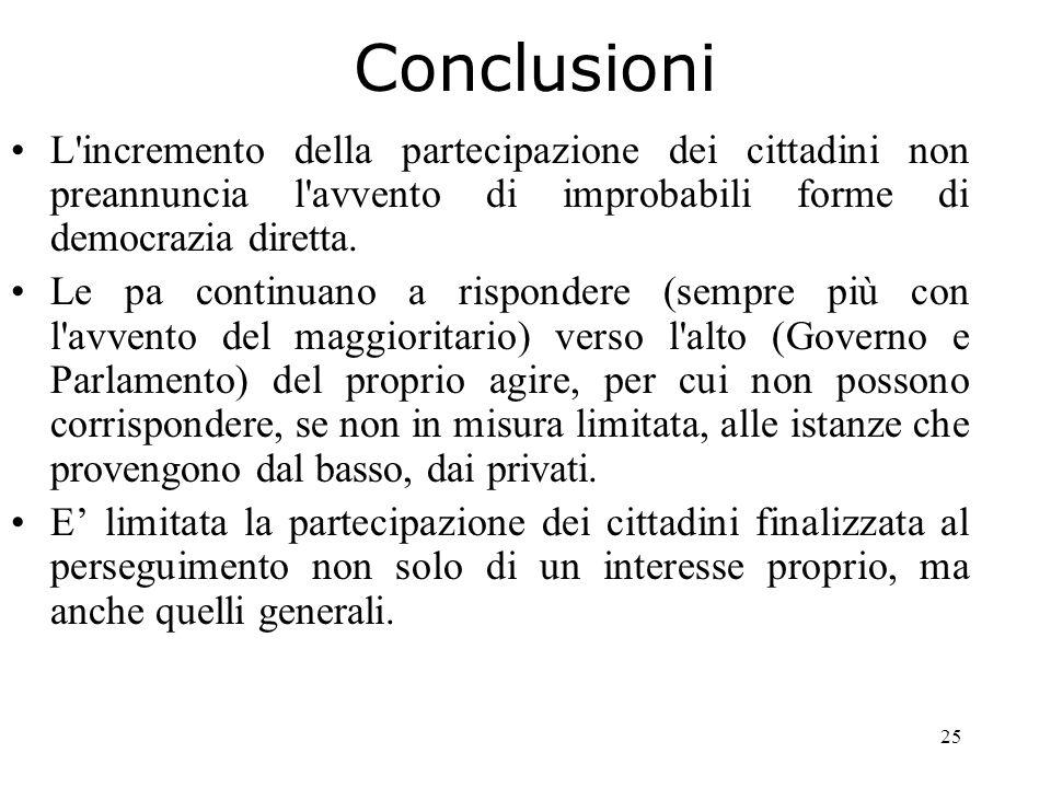 25 Conclusioni L incremento della partecipazione dei cittadini non preannuncia l avvento di improbabili forme di democrazia diretta.