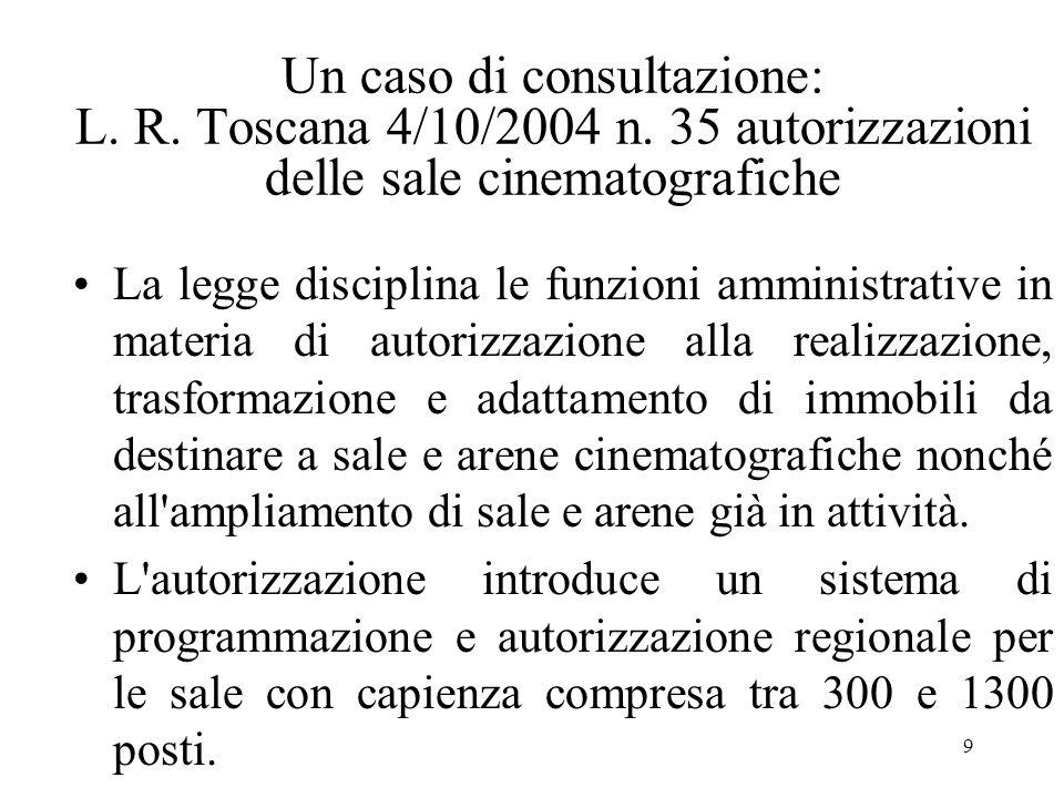 9 Un caso di consultazione: L. R. Toscana 4/10/2004 n.