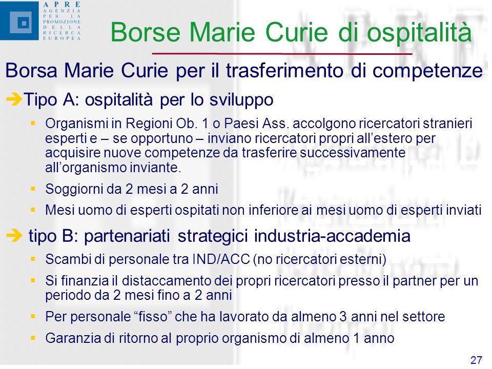 27 Borsa Marie Curie per il trasferimento di competenze Tipo A: ospitalità per lo sviluppo Organismi in Regioni Ob.