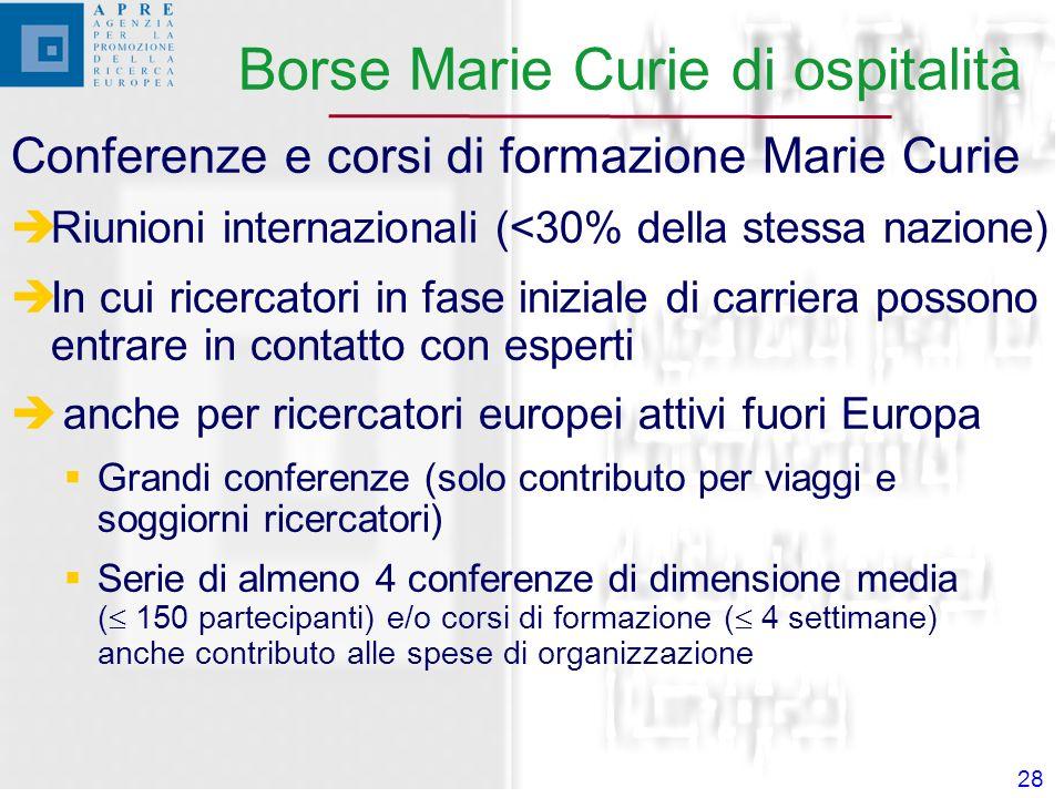 28 Conferenze e corsi di formazione Marie Curie Riunioni internazionali (<30% della stessa nazione) In cui ricercatori in fase iniziale di carriera possono entrare in contatto con esperti anche per ricercatori europei attivi fuori Europa Grandi conferenze (solo contributo per viaggi e soggiorni ricercatori) Serie di almeno 4 conferenze di dimensione media ( 150 partecipanti) e/o corsi di formazione ( 4 settimane) anche contributo alle spese di organizzazione Borse Marie Curie di ospitalità