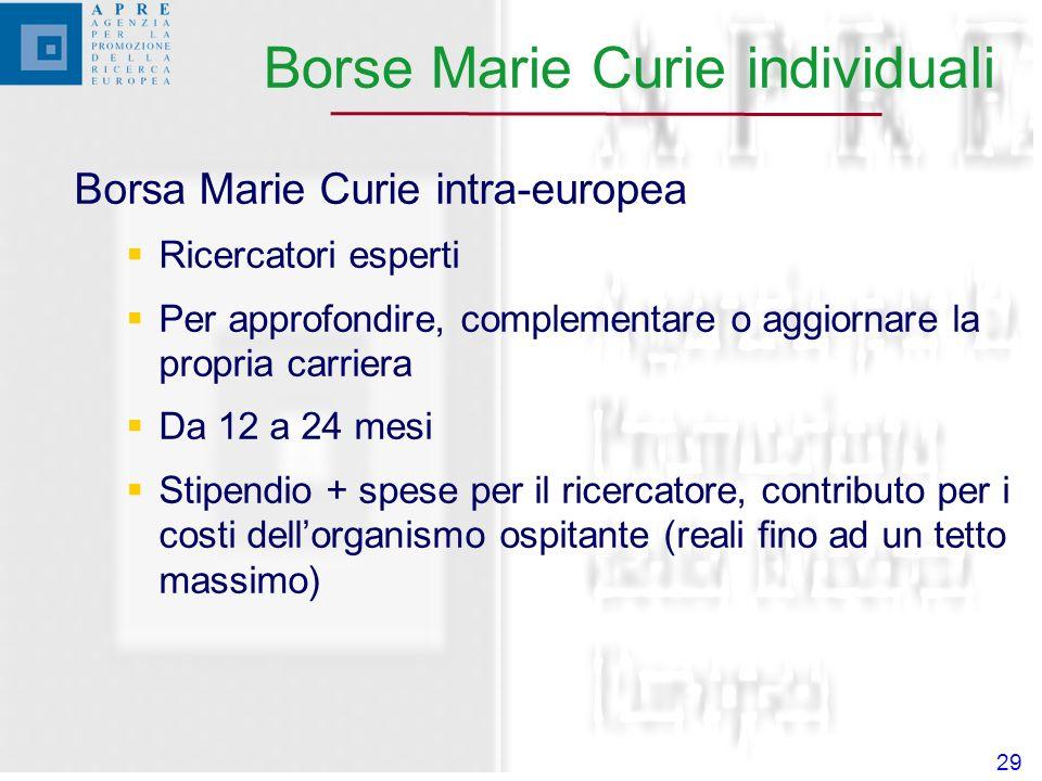 29 Borsa Marie Curie intra-europea Ricercatori esperti Per approfondire, complementare o aggiornare la propria carriera Da 12 a 24 mesi Stipendio + spese per il ricercatore, contributo per i costi dellorganismo ospitante (reali fino ad un tetto massimo) Borse Marie Curie individuali