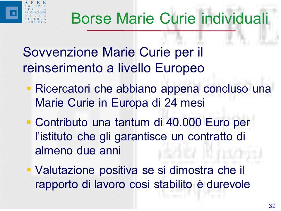 32 Sovvenzione Marie Curie per il reinserimento a livello Europeo Ricercatori che abbiano appena concluso una Marie Curie in Europa di 24 mesi Contributo una tantum di 40.000 Euro per listituto che gli garantisce un contratto di almeno due anni Valutazione positiva se si dimostra che il rapporto di lavoro così stabilito è durevole Borse Marie Curie individuali