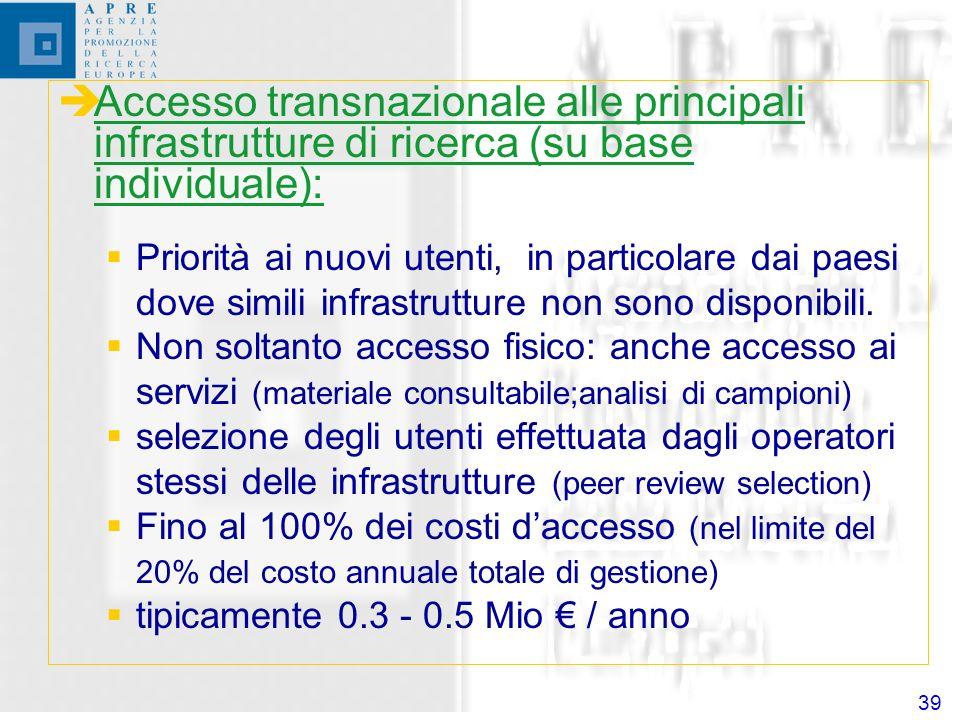 39 Accesso transnazionale alle principali infrastrutture di ricerca (su base individuale): Priorità ai nuovi utenti, in particolare dai paesi dove simili infrastrutture non sono disponibili.