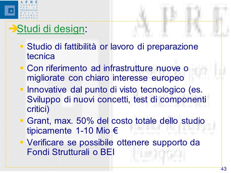 43 Studi di design: Studio di fattibilità or lavoro di preparazione tecnica Con riferimento ad infrastrutture nuove o migliorate con chiaro interesse europeo Innovative dal punto di visto tecnologico (es.